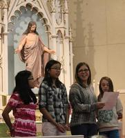 Some of the children singing for worship